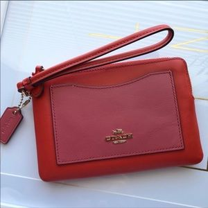 NWOT Coach red & pink small wristlet